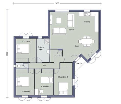 plan maison 100m2 4 chambres plan opaline 4 chambres plan maison plus d