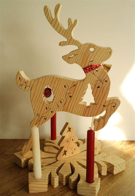 renne de noel centre de table avec bougies