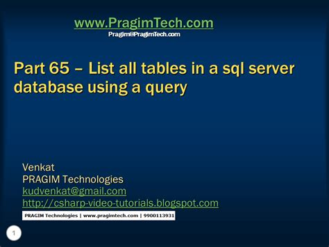 sql list all tables sql server net and c video tutorial part 65 list all