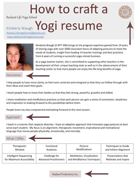 how to craft a yogi resume radiant school