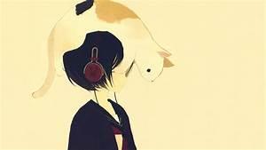 Headphones, Cats, Animals, Anime, Simple, Background, Anime, Girls, Phone, 1920x1080, Wallpaper, High