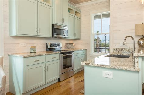 Turquoise Kitchen Cabinets  Cottage  Kitchen  Pat O