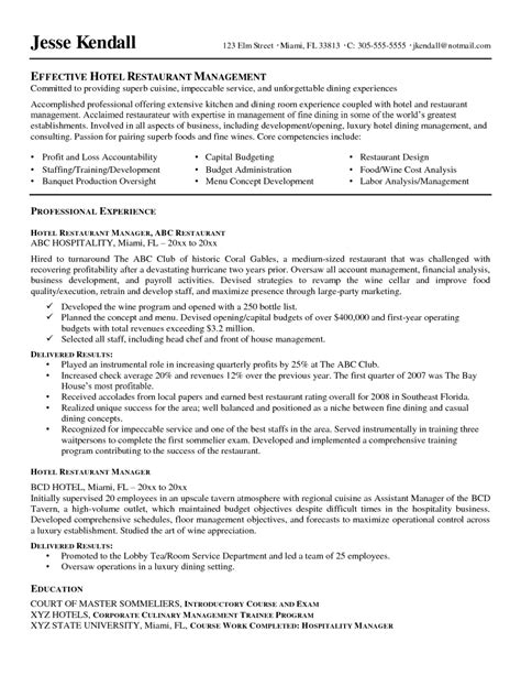 Hotel Assistant Manager Resume by Free Best Restaurant Manager Resume Sle With Description Key Skill Areas