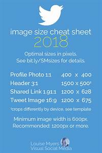 Twitter Picture Size Social Media Cheat Sheet 2018 Must Have Image Sizes