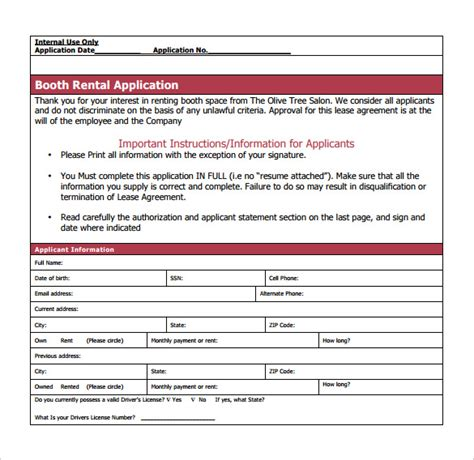 sle booth rental agreement 7 documents in pdf word