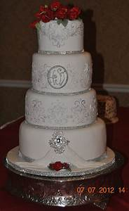 Silver & Red Wedding Cake - CakeCentral.com