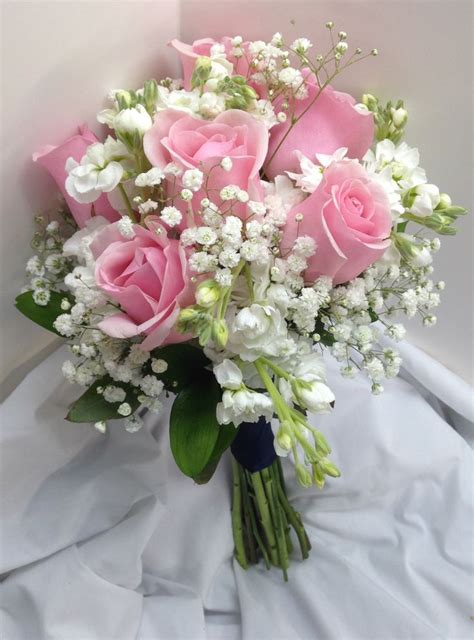 Wedding Bouquets by Bridal Bouquet With Pink Roses White Mini Carnations And