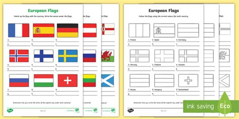 european flag worksheets europe geography flags countries