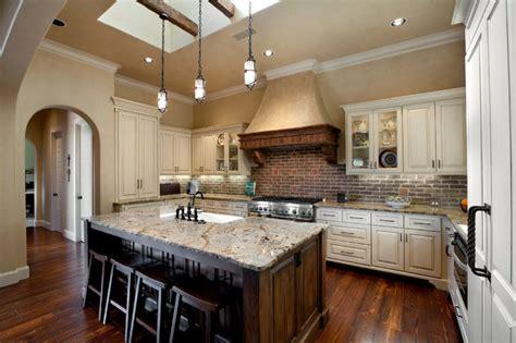 Kitchen Cabinet Stain Ideas - gourmet kitchen with island mediterranean kitchen dallas by holmes builders