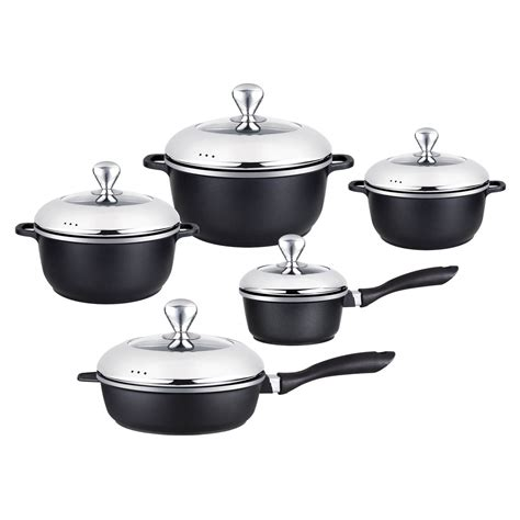 pcs black classic series cast aluminum healthy  stick cookware set  combined lids