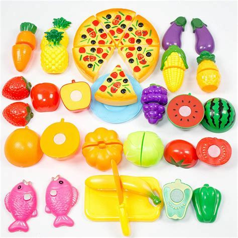 24 Pcs/ Set Plastic Fruit Vegetable Kitchen Cutting Toys