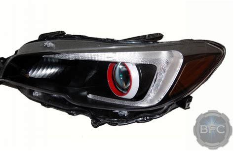 subaru wrx black white red custom painted headlights