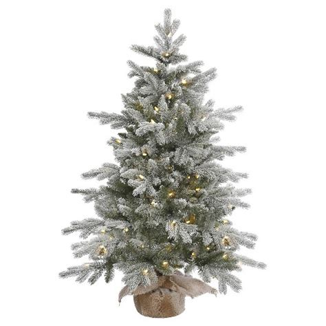 4 ft pre lit frosted pine artificial christmas tree with