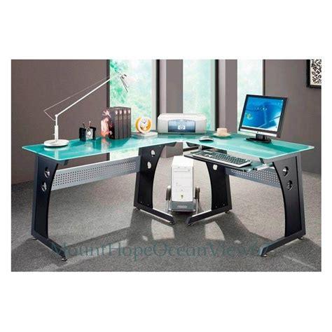 modern glass computer desk glass top computer desk modern graphite corner gaming home