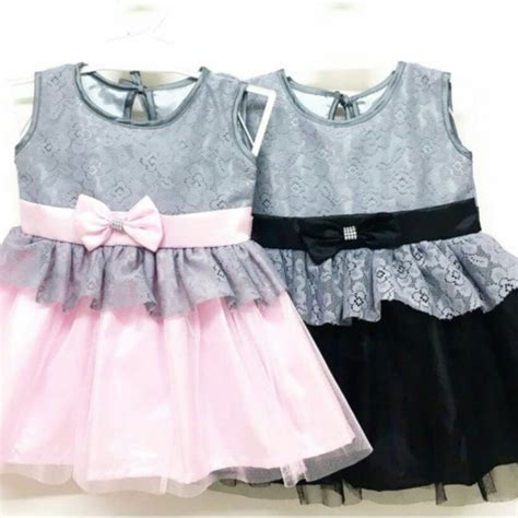 jual baju anak dress dress pesta anak bayi perempuan brokat tile pink hitam kombinasi abu murah