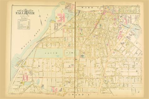Fall River City - Plate 2, Massachusetts 1895 Old Town Map ...