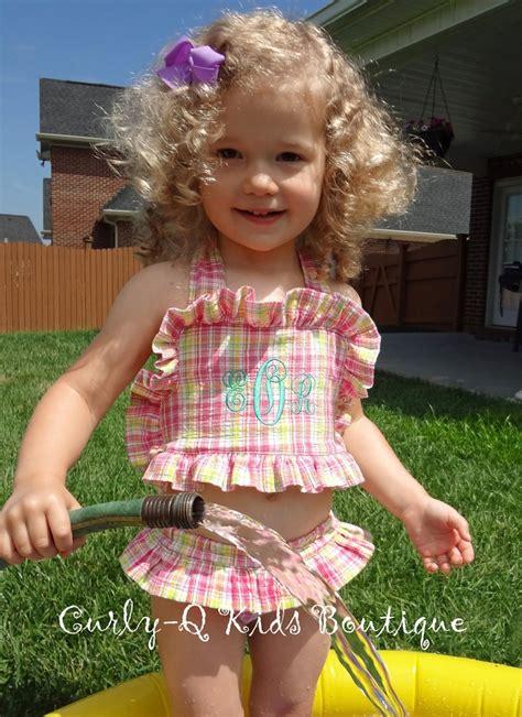 toddlergirls monogrammed seersucker swim suit toddlers bathing suits pinterest swim