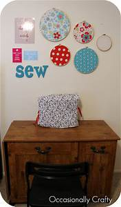 sewing nook wall art occasionally crafty sewing nook With kitchen cabinets lowes with embroidery hoop fabric wall art