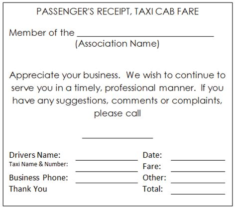 taxi receipt template for any taxi owner