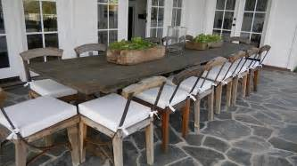 reclaimed dining table transitional deck patio