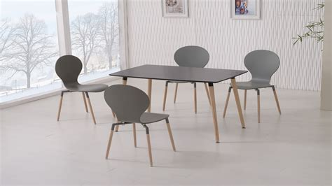 dining table with grey chairs black dining table and 4 grey chairs homegenies