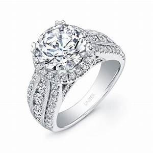 Uneek 1 Carat Round Diamond Wide Band Halo Engagement Ring