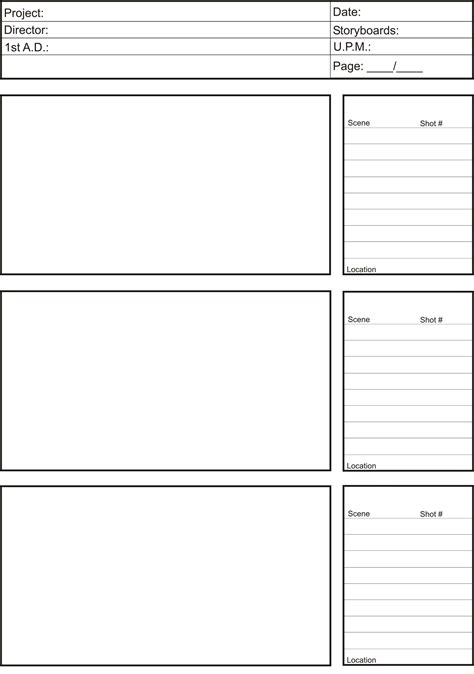 storyboard template pre production