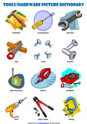hand tools picture dictionary esl vocabulary worksheet
