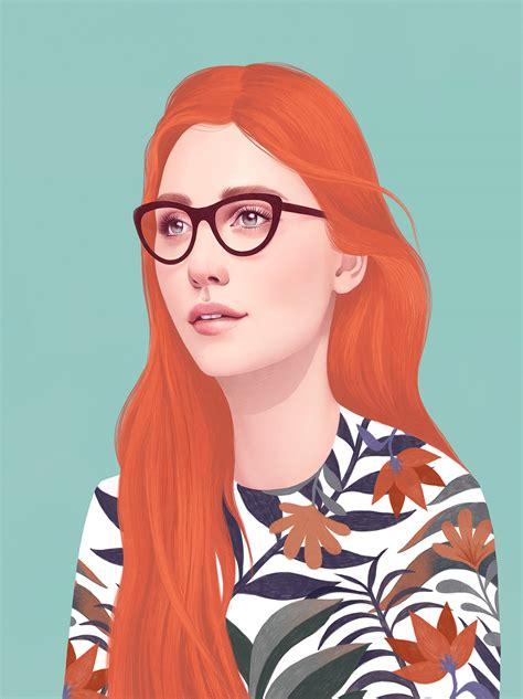 illustrated portraits  mercedes debellard daily design inspiration  creatives