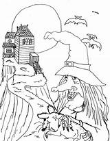 Coloring Witch Scary Hill Sheet Sky sketch template