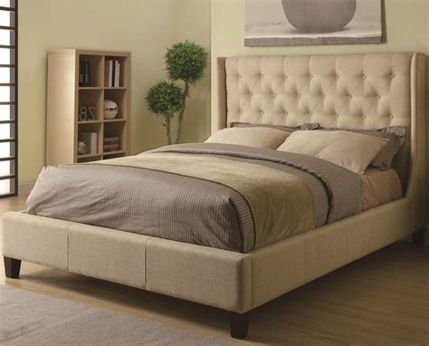 owen tan upholstered e king bed with button tufted