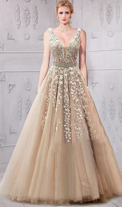 Classy A Line V Neck Low Back Champagne Tulle Lace Prom ...