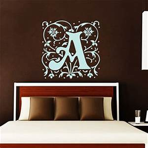 wall decals monogram decal initial letter vinyl sticker With wall decals monogram letters