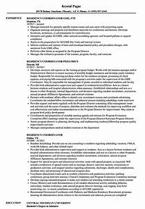 Residency Coordinator Resume Samples
