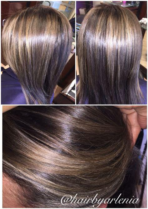 neutral ash blonde highlights  cool brown base hair