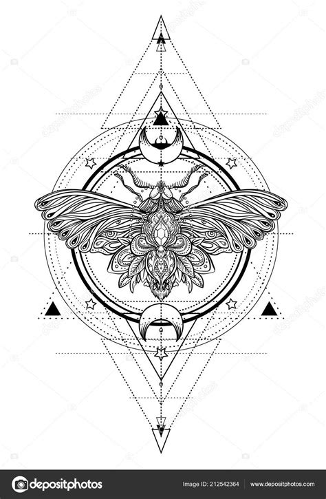 Black White Butterfly Sacred Geometry Sign Isolated Vector Illustration Tattoo — Stock Vector