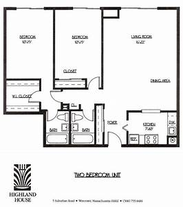 Highland house apartments worcester ma 1 and 2 bedroom for Two bedroom layout plan