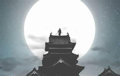 Samurai Moon Night Ronin Warrior Castle Background