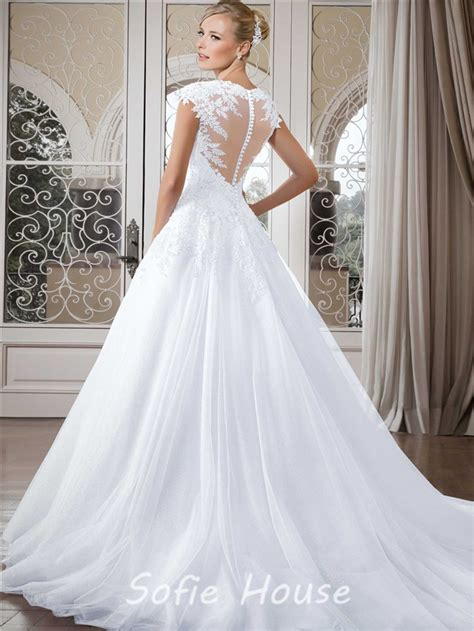ball gown queen anne neckline cap sleeve tulle lace