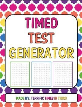 timed test generator for addition subtraction and multiplication teachers pay teachers