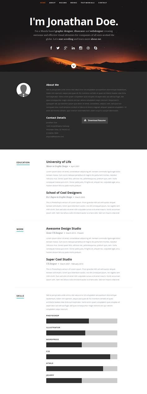 15 best free resume cv website templates and themes