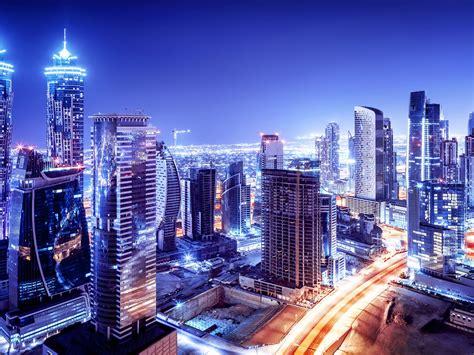 united arab emirates dubai downtown night  scenario beautiful modern buildings night lights