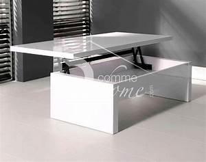Table Basse Relevable Blanc Laqué : table basse transformable blanc laque ~ Teatrodelosmanantiales.com Idées de Décoration