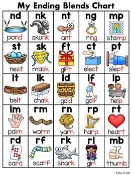 ending blends words chart by miss giraffe teachers pay