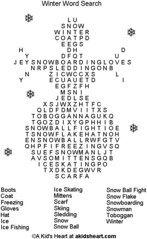 winter words winter word search puzzle to print and play