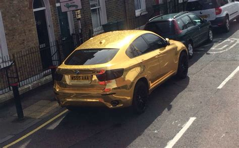 gold chrome wrapped bmw  hot