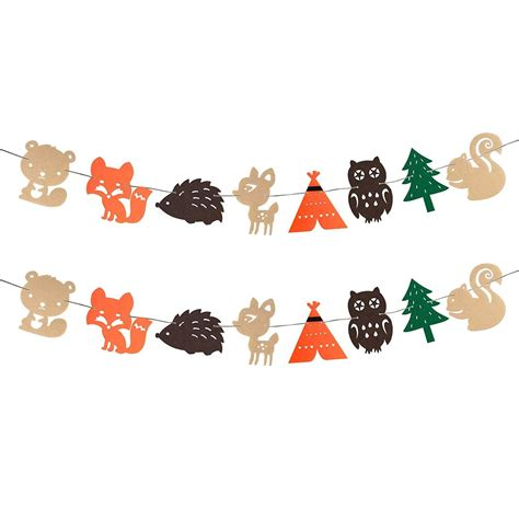 Woodland Creatures Theme Banner Forest Animals Garland for