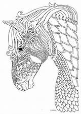 Horse Coloring Adults Animal sketch template