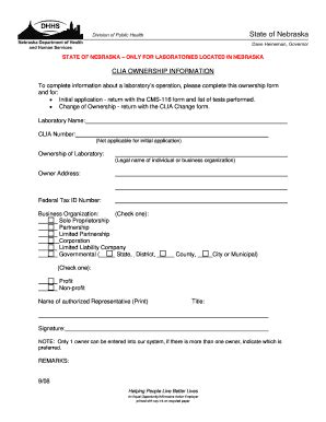 form cms 116 pdf fillable online dhhs ne clia ownership information form