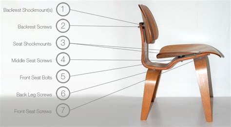 eames molded plywood dining and lounge dcw lcw chair parts